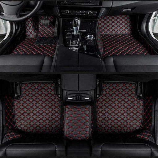 Custom Fit Luxury Car Mats Black & Red